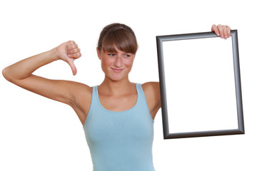 uphappy woman with picture frame