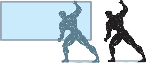 Bodybuilder holding screen.