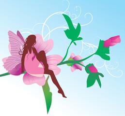 Keuken foto achterwand Magische wereld fairy on pink flower sitting