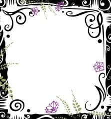 Rahmen, floral, filigran, bunt, vector