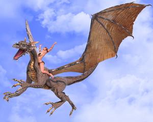 Papiers peints Dragons lady dragon hands up blue sky