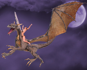 Papiers peints Dragons lady dragon hands up fantasy sky