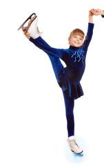 Girl in blue sport dress on skates.
