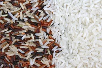 Thai Red Jasmine Organic rice half with White Jasmine rice