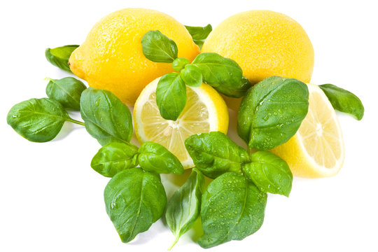 Zitrone und Basilikum