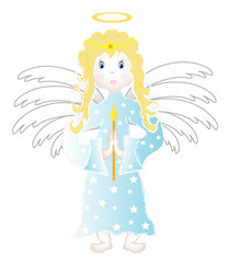 Little angel child, object isolated, vector