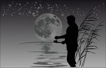 night fisherman illustration