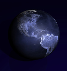 Dark Blue Globe America view