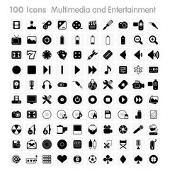 100 Icons - Multimedia and Entertainment Set