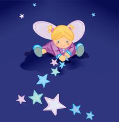 Keuken foto achterwand Magische wereld Cute angel with stars