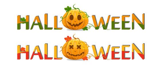 pumpkin with halloween text