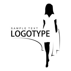 Logotype with silhouette of a beautiful girl.