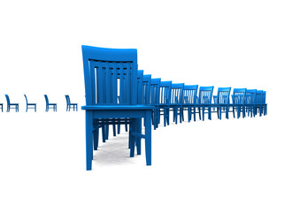 3D Stuhlreihe - Blau