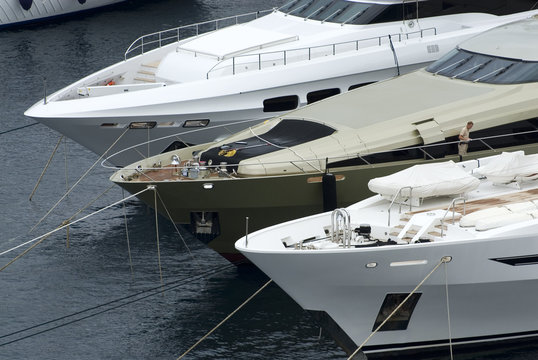 Three luxury yachts in Monte Carlo