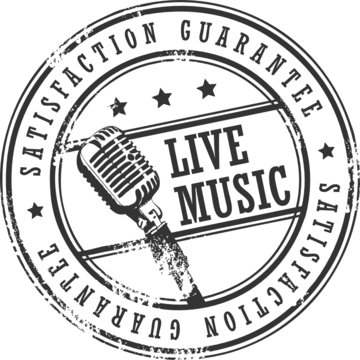 Grunge rubber stamp with the word live music written inside