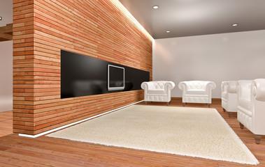Soggiorno con muro in legno