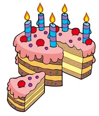 Cartoon sliced birthday cake