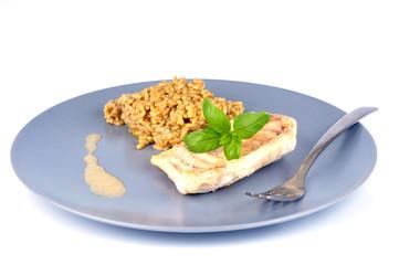 Assiette de filet de lieu noir et riz