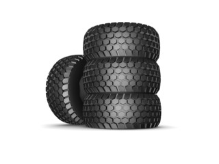 New tyres for truck with shadow isolated on white