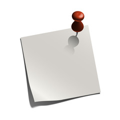 white paper note with a pin
