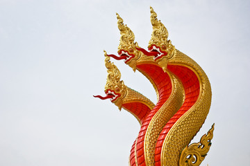 Serpent of Thai style art in thai temple