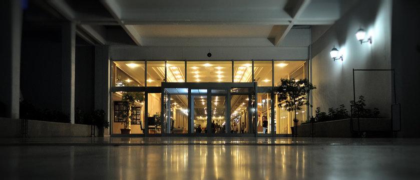 Hotel entrance in luxury hotel  taken at dusk