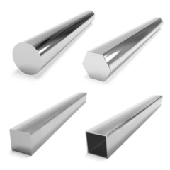 four stainless steel blocks on the white