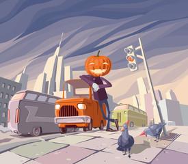 Jack O' Lantern and his orange car.