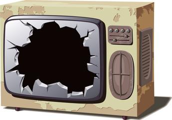Old broken TV set.