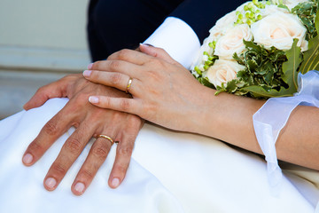 Bride and Groom Hand with Wedding Ring
