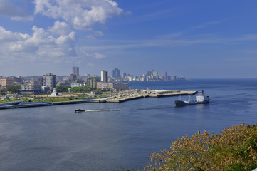 Large ship entering Havana Bay