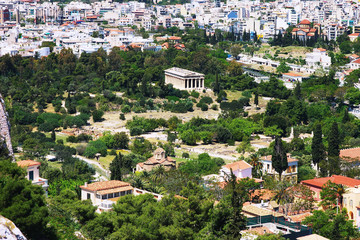 View from the Acropolis to the Teseyon in Athens, Greece