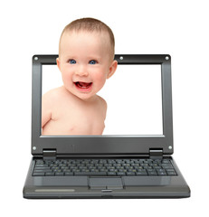 laptop with laughing baby