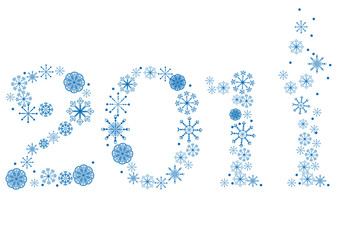 New year made of snowflakes