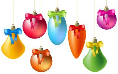 Hanging christmas balls. Vector