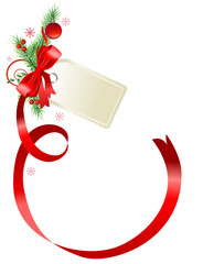 Blank gift christmas tag tied with a bow of red satin ribbon