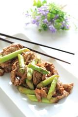 Chinese cuisine, asparagus and pork stir fried