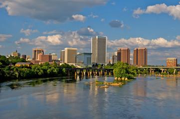 Cityscape of Richmond, Virginia over the James River.