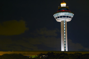 Changi Airport Controller Tower at Night