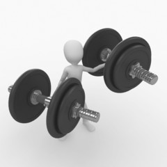 3d man with dumbbell
