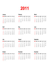 Simple Calendar for year 2011. vector format.