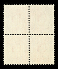 Blank Block of Four Postage Stamps