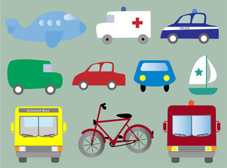 Transportation collection vector illustration