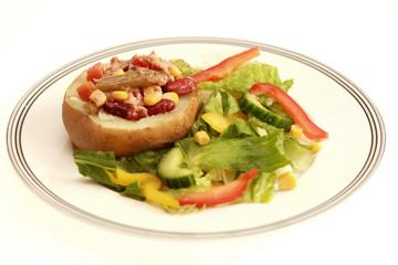 Jacket Potato with Tuna and Mixed Bean Salad