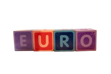 euro in blocks on white background
