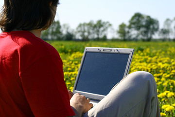laptop nature work
