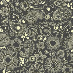 Fototapete - Floral seamless background, paisley motif