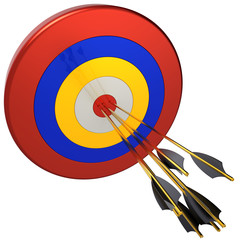 Sniper. Seven arrows in bull's eye target (Hi-Res)