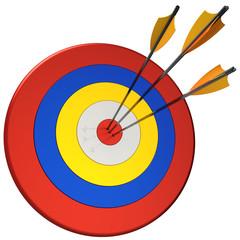 Hit a targets. Three arrows in bull's eye target. 3D render