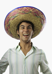 portrait of smiling Mexican man in sombrero